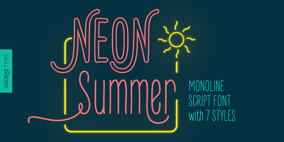 Neon Summer font page