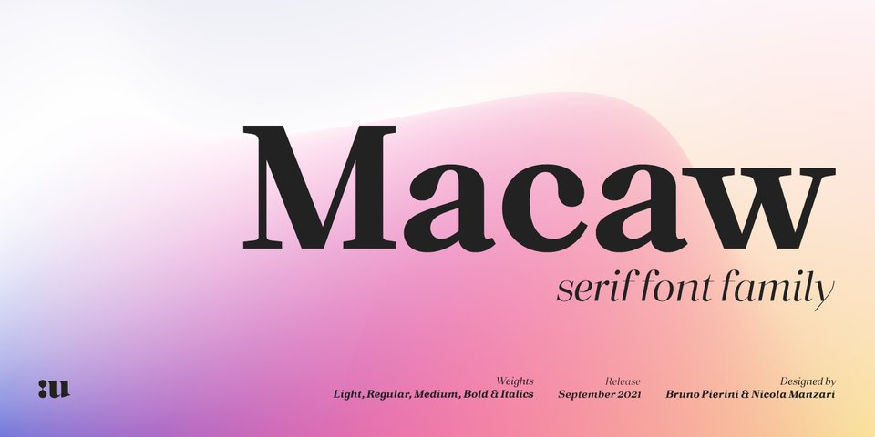 Macaw font page