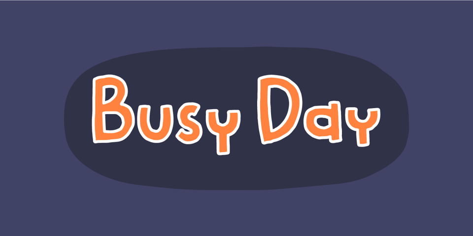 Busy Day font page