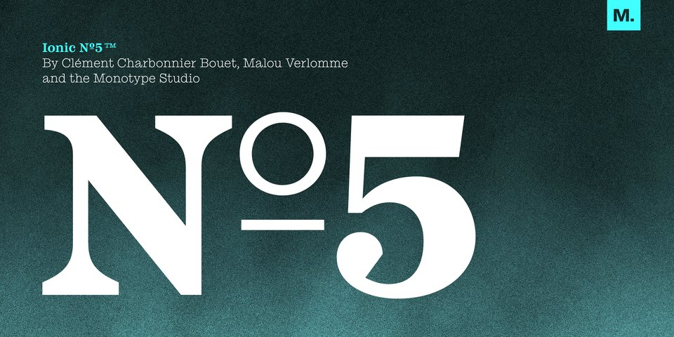 Ionic No 5 font page