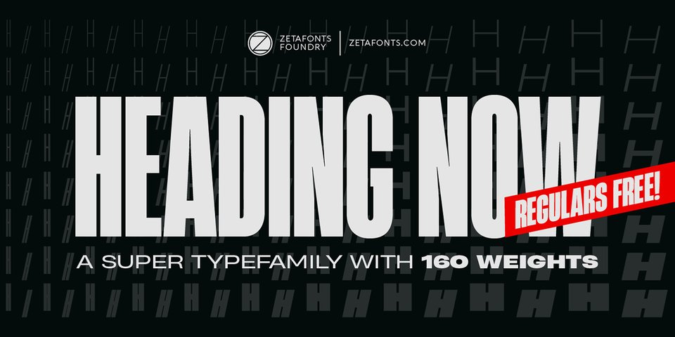 Heading Now font page