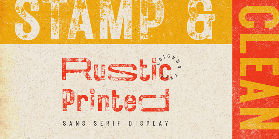 Rustic Printed font page