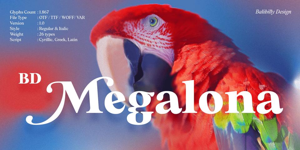 BD Megalona font page