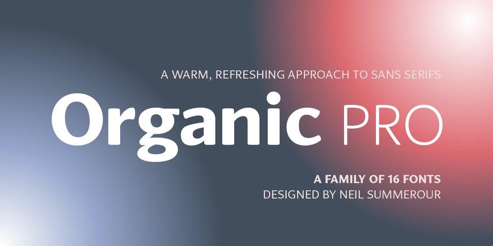 Organic Pro font page