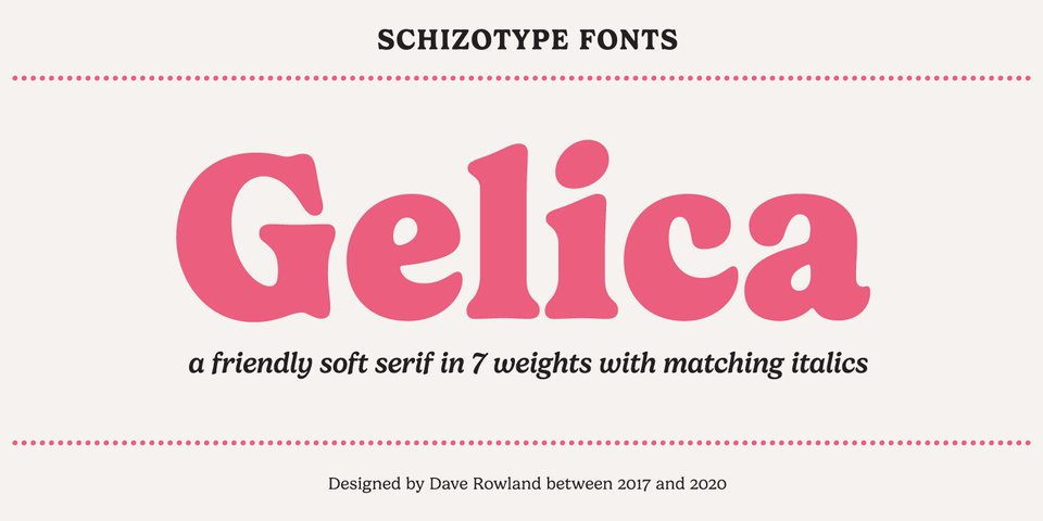 Gelica font page