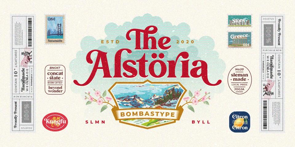 Alstoria font page