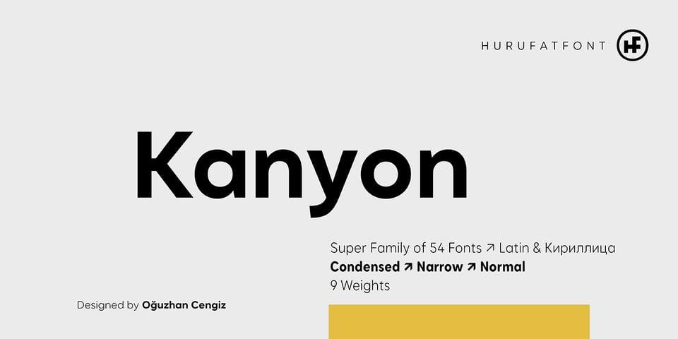 Kanyon font page