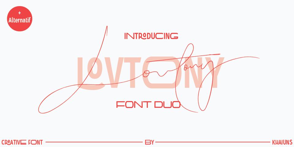 Lovtony font page