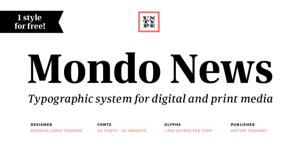 Mondo News font page
