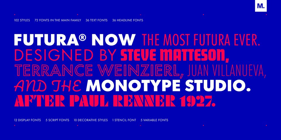 Futura Now font page