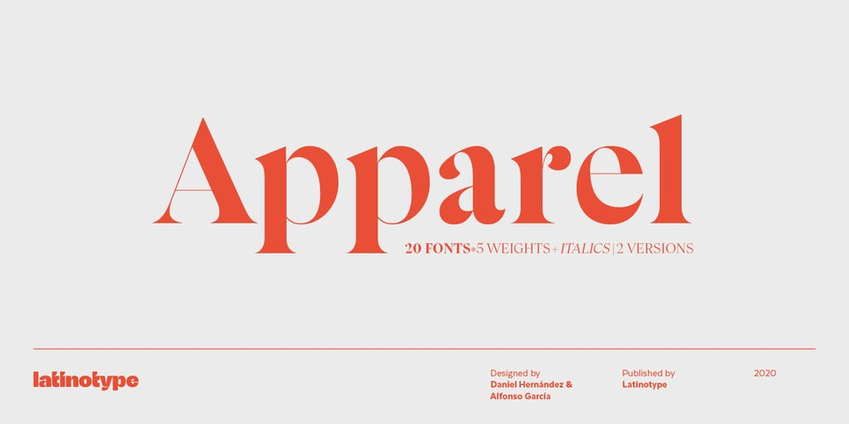 Apparel font page