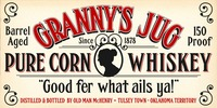 Vintage Grannys Jug Corn Whiskey Label