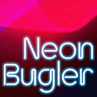 Neon Bugler flag by John Bomparte