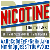 Earliest Known Graphic Example of Nicotine from font, from the old world wide web