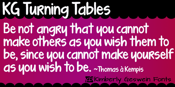 KG Turning Tables | Webfont & Desktop font | MyFonts