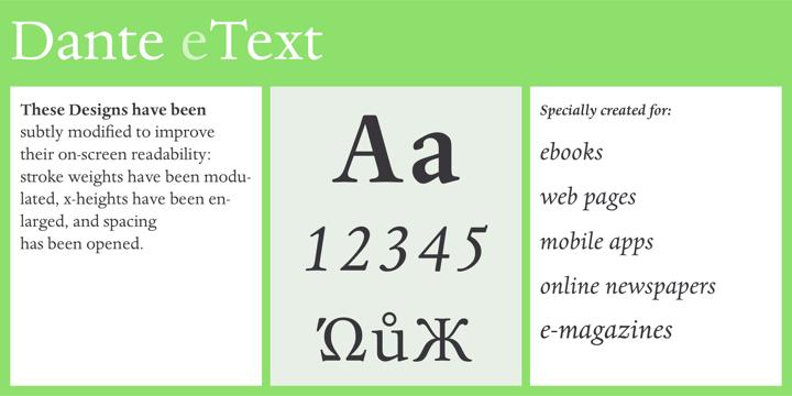 Dante eText® - Webfont & Desktop font « MyFonts