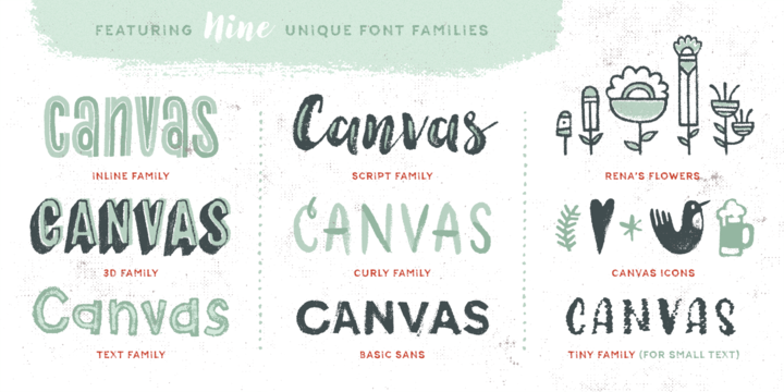 Hot fonts download canvas acrylic megafamily font