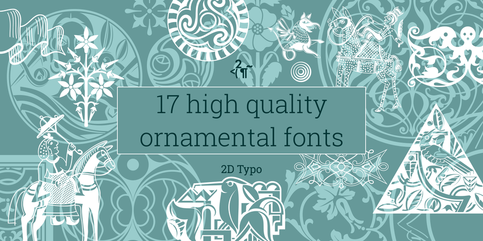2D Typo Ornamental Fonts Collection by 2D Typo