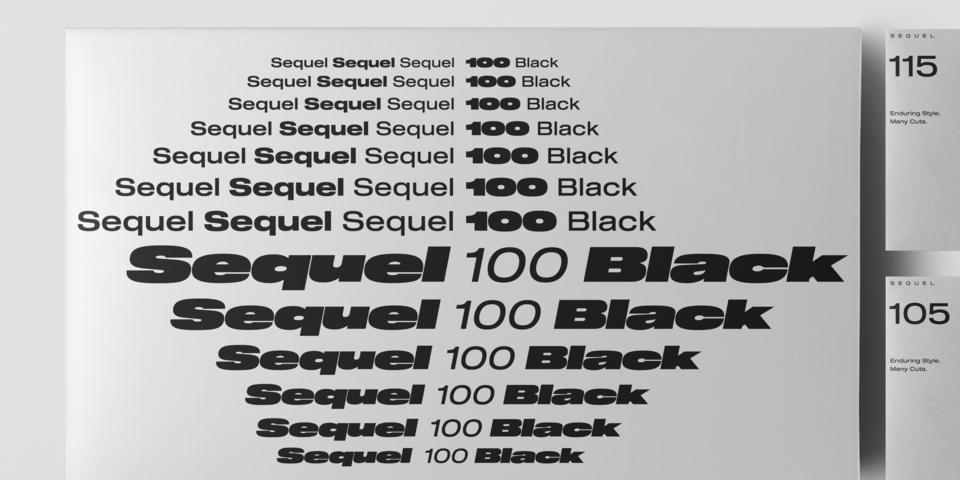 Sequel 100 Black font page