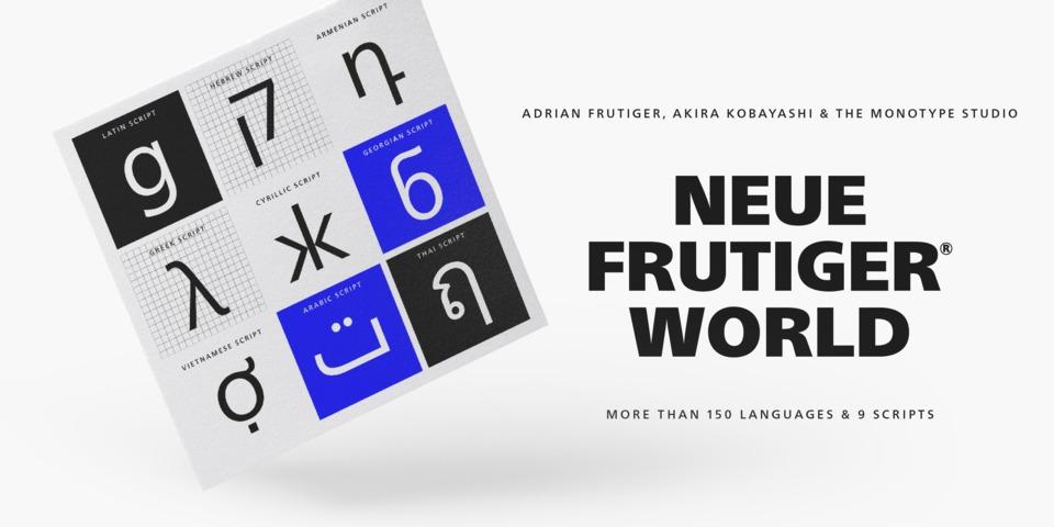 Neue Frutiger World font page