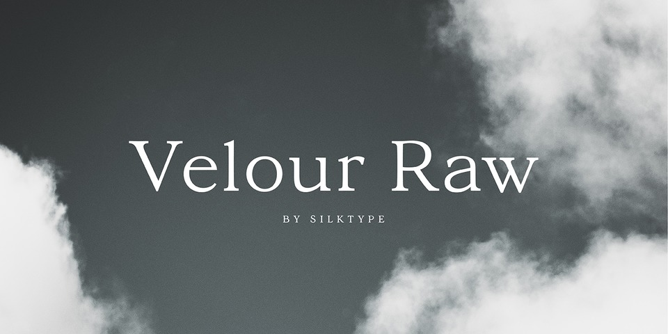 Velour Raw font page
