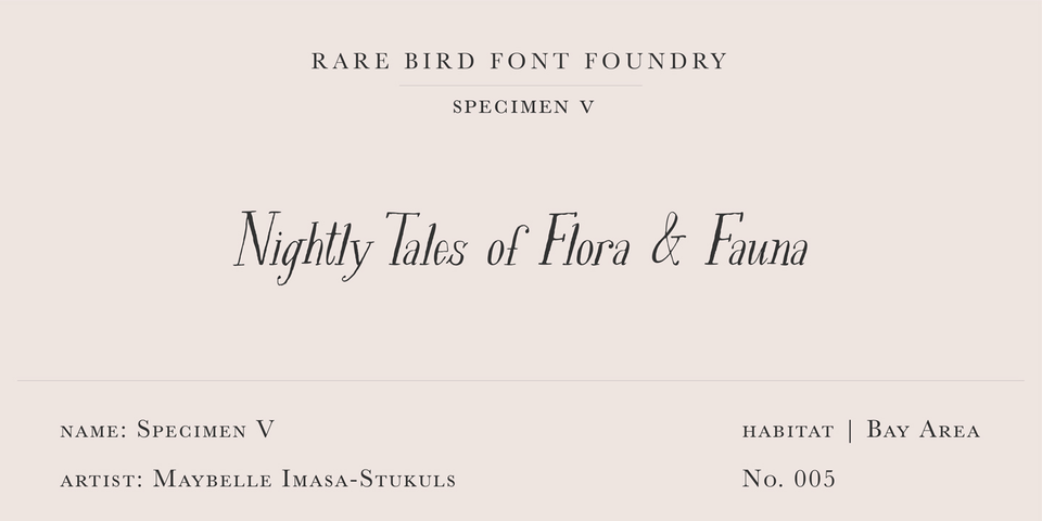 Rare Bird Specimen V font page