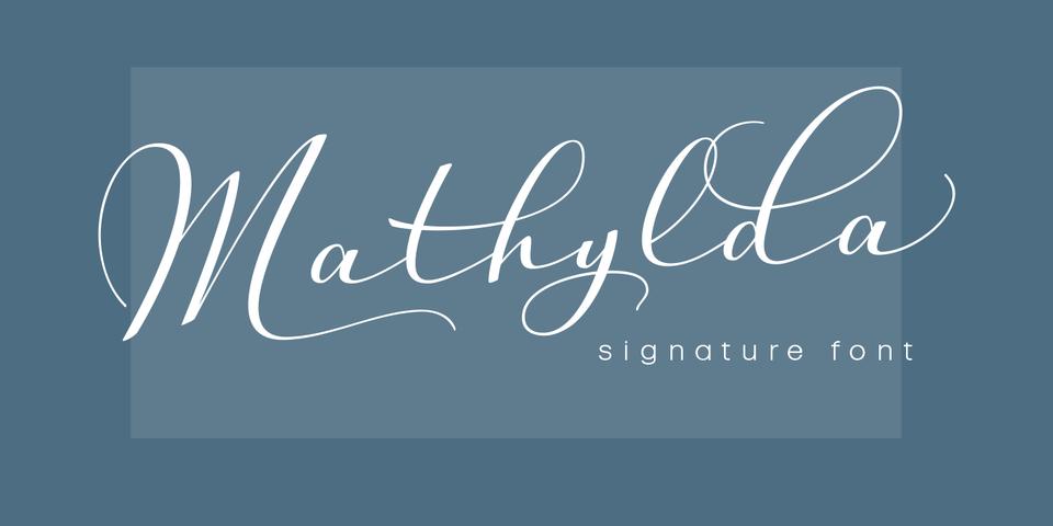 Mathylda Script font page