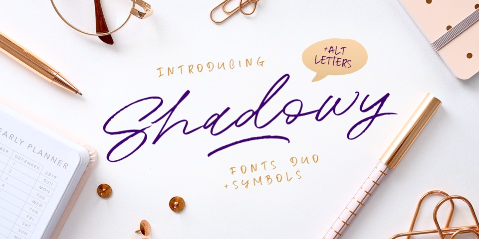 Shadowy font page