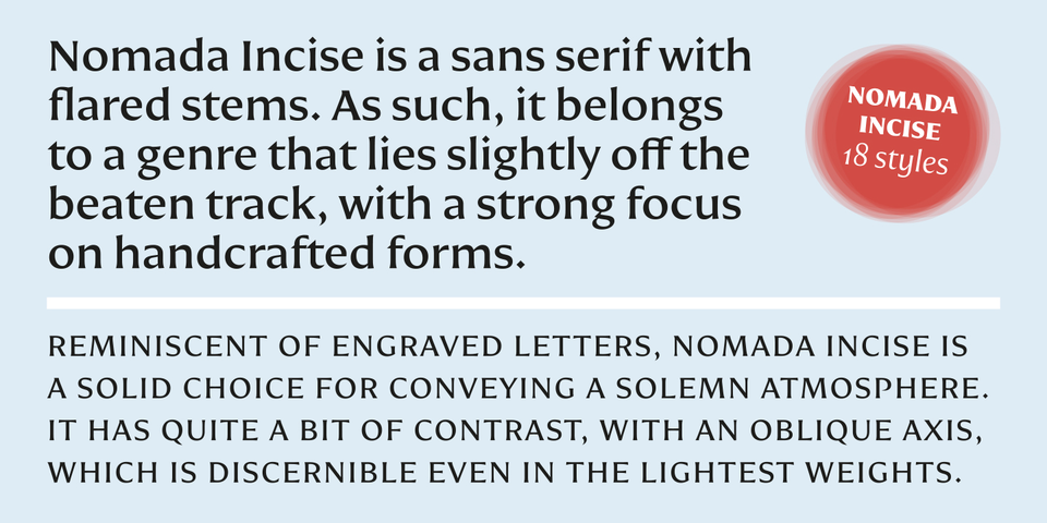 Nomada Incise font page
