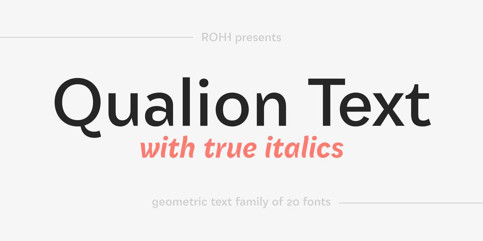 Qualion Text font page