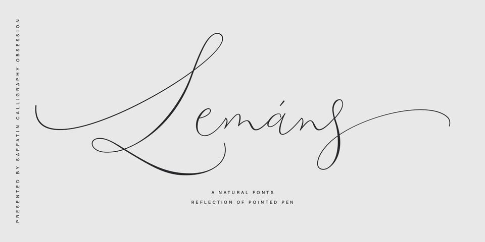 Lemans Pen Script font page