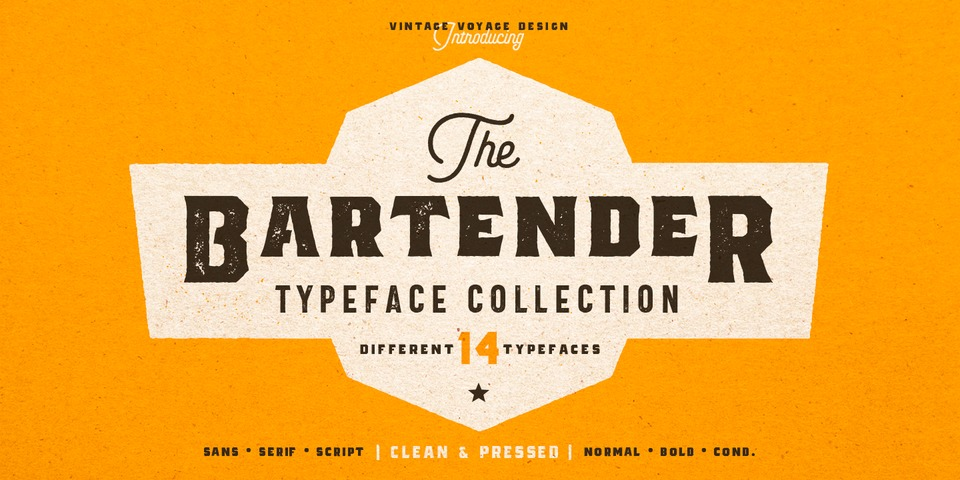 The Bartender font page