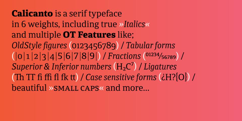 Calicanto font page