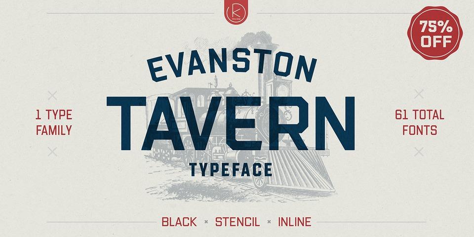 Evanston Tavern font page