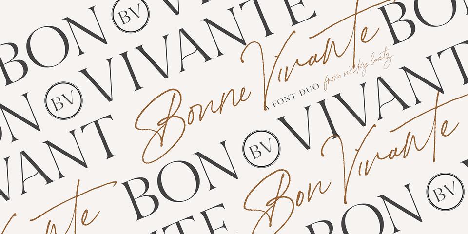 Bon Vivant Family font page