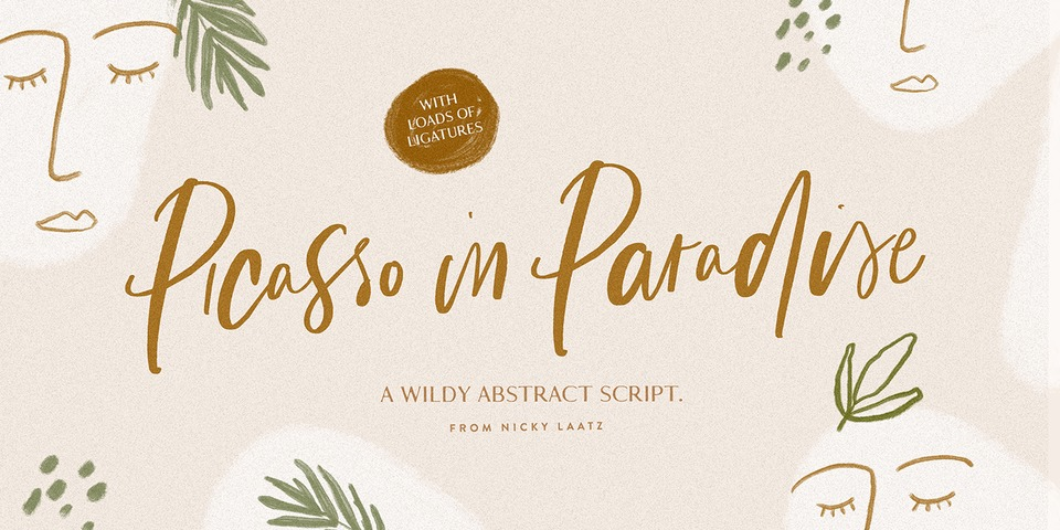 Picasso in Paradise font page