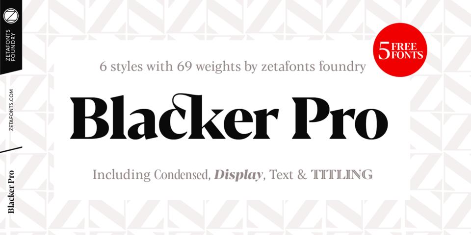 Blacker Pro font page