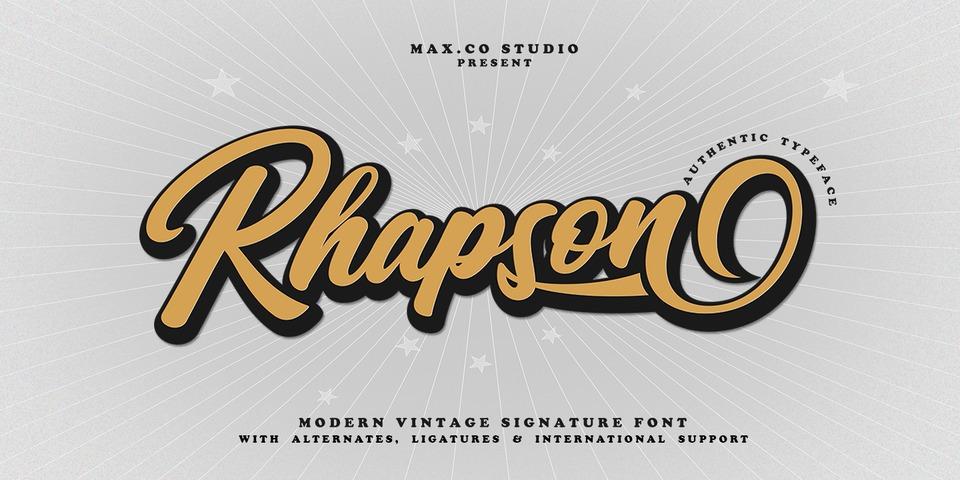 Rhapson Script font page