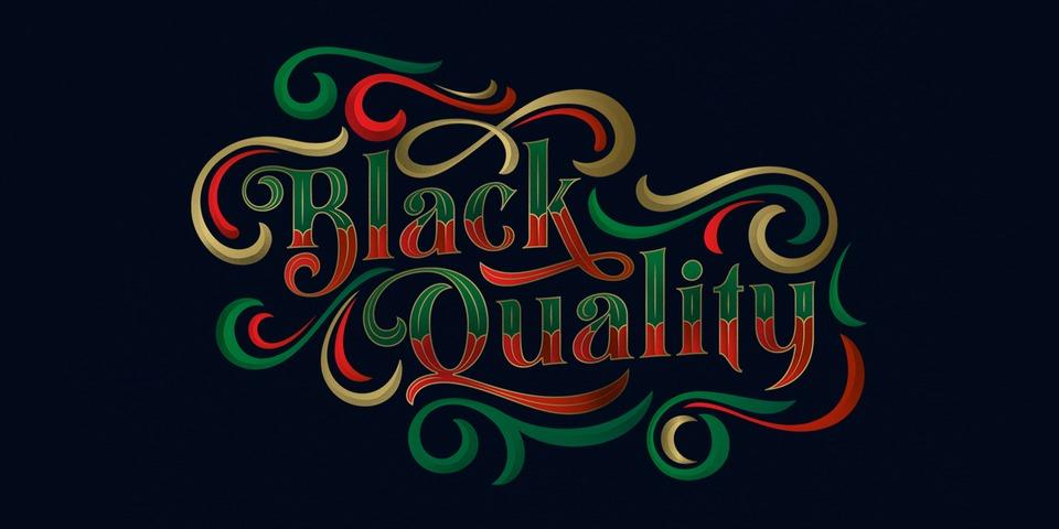 Black Quality font page