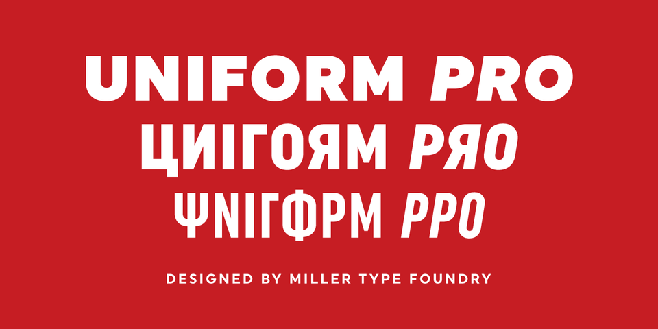 Uniform Pro font page