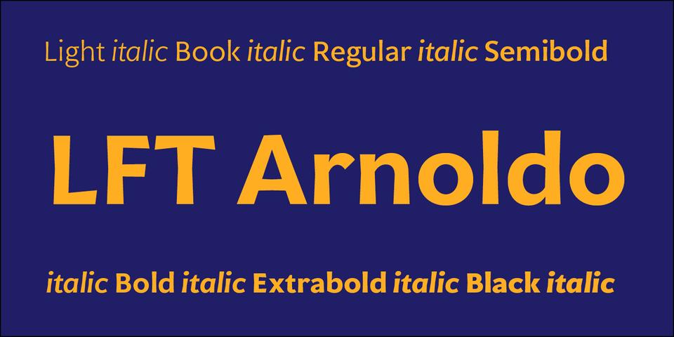 LFT Arnoldo font page