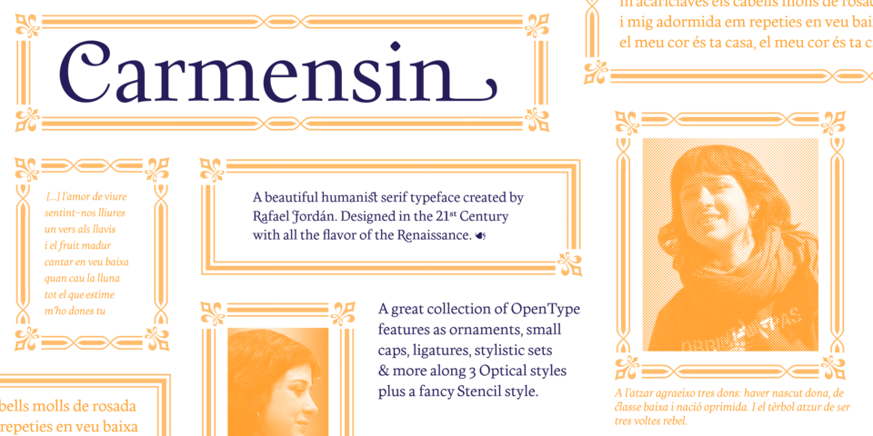 Carmensin font page
