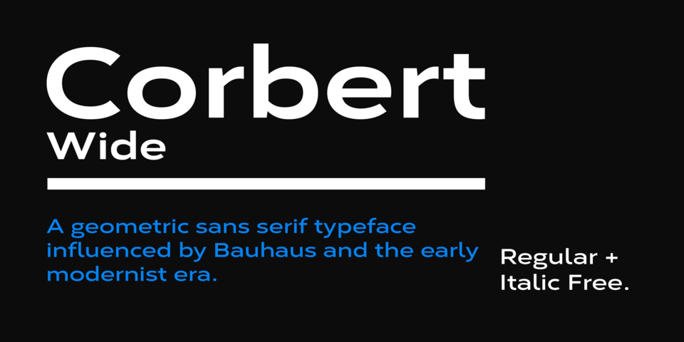 Corbert Wide font page