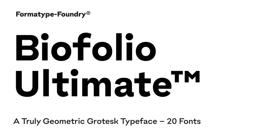 Biofolio Ultimate font page