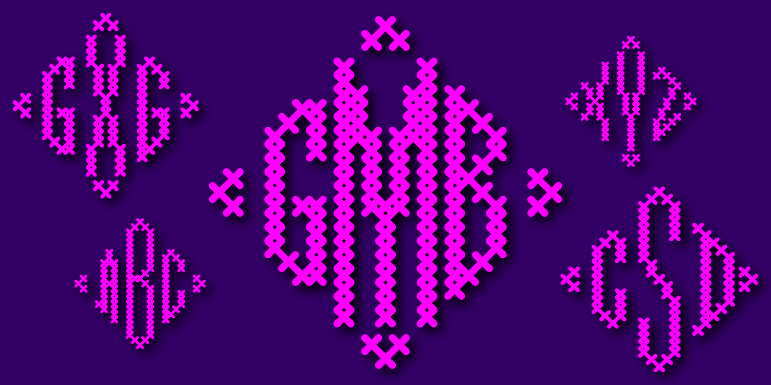 Cross Stitch Diamond Monogram
