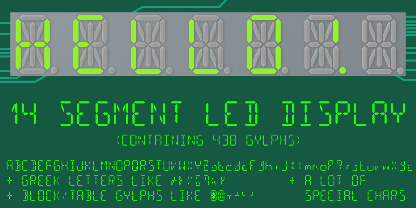 14 segment led display premium font