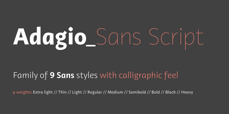 Adagio sans script premium font urban fonts