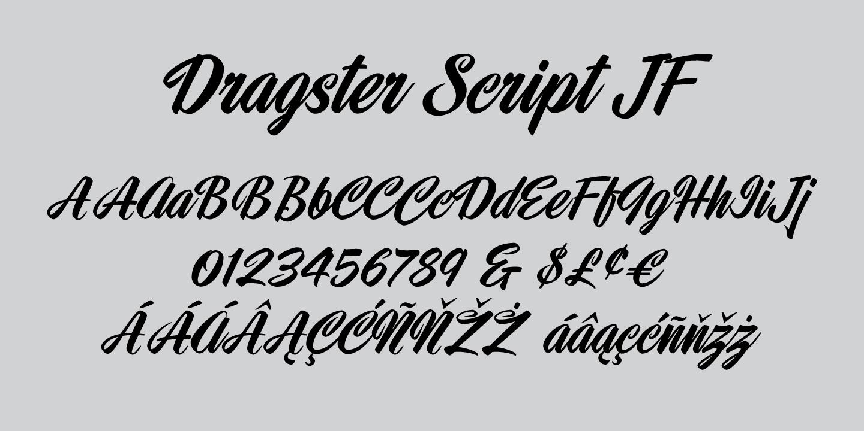 Dragster script jf premium font urban fonts