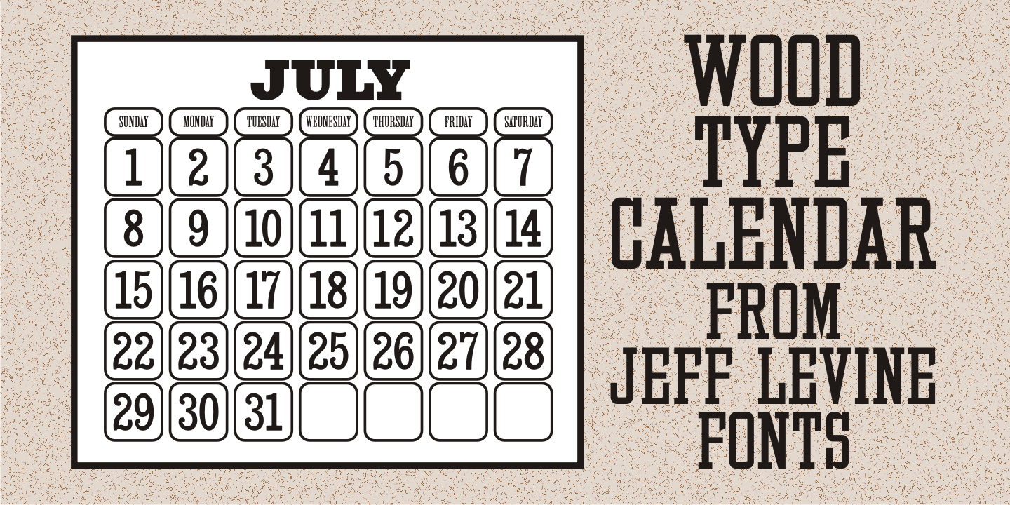 Wood Type Calendar JNL