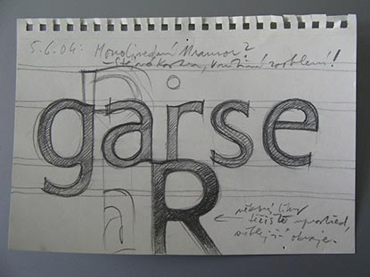 notebook page with typeface sketches